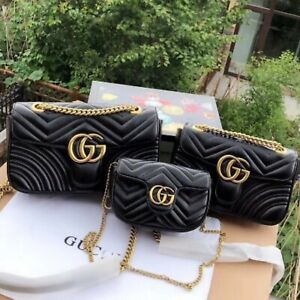 Gucci GG Marmont Black Leather Chain Crossbody Shoulder Bag for women