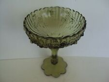 VINTAGE FENTON COLONIAL GREEN CABBAGE ROSE COMPOTE CANDY DISH