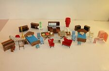 46 Piece Lot Of Vintage Doll House Furniture-Blue Box, Wood