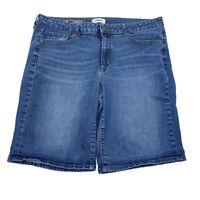 SONOMA Jean Shorts Women's Sz 16 High Rise Bermuda Denim Blue Cotton Blend Short