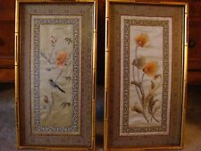 Pair of Hand Sewn Needle Point Pictures - Bamboo Look Framing