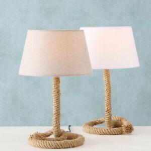 Tischlampe Seil Tau Maritim Lampenschirm Grau Höhe 40 cm Ø 24 cm E27 bis 40W