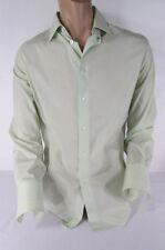 John Varvatos Men White Lime Green Classic Dress Shirt Long Sleeves Large