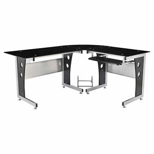 """64"""" Modern L-Shaped Glass Top Office Workstation Computer Desk PC Table"""
