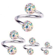 Spiral Twist Piercing Titanium 1,2 mm, Multi Crystal Ball Aurora Borealis | 6-12