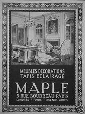 PUBLICITÉ 1929 MAPLE MEUBLES DÉCORATIONS TAPIS ÉCLAIRAGE - ADVERTISING