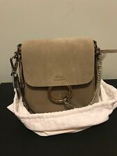 Chloe Small Faye Leather and Suede Motty Grey Backpac