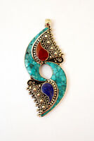 Ethnic  Handmade Sterling Silver Pendant Asian Jewelry Turquoise Coral Lapis A3