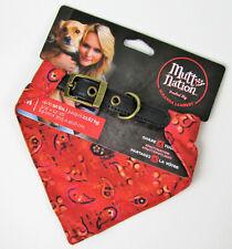 Red PINK Bandana Leather Dog Collar Miranda Lambert Mutt Nation M up to 50lb