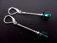 A PAIR OF SILVER PLATED TEAL BLUE/GREEN CUBE BEAD LEVERBACK HOOK EARRINGS. NEW.