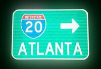 Interstate 20 Atlanta route road sign - GDOT - Georgia, Braves, Georgia Tech