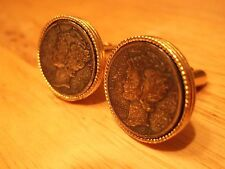 Cufflinks Unpolished Groomsman Gift 1939 Genuine 90% Silver Mercury Dime Coin