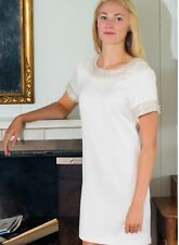 NWT Gretchen Scott Dress Satin Beaded Cream White Size Small