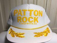 Vintage Otto Hat Cap Patton Rock Lafayette, GA Gold Leaf SnapBack White Gold