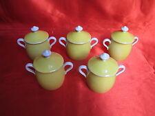 5 pots à crème en porcelaine LIMOGES BERNARDEAUD & Cie jaune et blanc