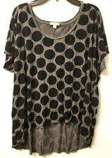 GAP Womens Tee Large Navy Blue Dots Gray Crewneck T-Shirt Basic Top Hi-Lo Hem