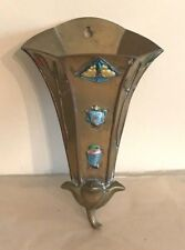 Vintage Brass Wall Pocket with Cabachon Stones Lotus Flower Motif Made in China