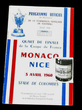 Football Programme AS Monaco OGC Nice 1/4 finale coupe de france 1960