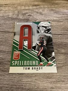"""2021 Panini Donruss Elite Tom Brady Spellbound Letter """"A"""" Green #S-A Buccaneers"""
