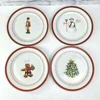 Williams Sonoma Christmas Icons Salad Plates Boxed 4 tree snowman nutcracker