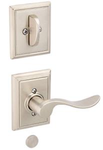 Schlage Accent Lever Right Satin Nickel Dummy Interior Handle Set W/ Deadbolt