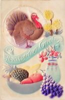 Airbrushed Embossed Silk Thanksgiving Postcard Turkey Fruit Flowers~130098