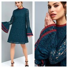 Little Mistress Size 10 Green Lace Flute Sleeve Peacock Shift DRESS Red Trim £70