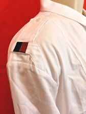 NWT GUCCI WHITE  DUKE COTTON WEB EPAULETTE LOGO BUTTON SHIRT 18.5 47 #342524