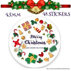 48x Christmas Decorating Labels  Merry Xmas Gift Present Seals Label 45mm SNP27