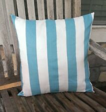 """Teal and White Stripe Cotton Pillow Cushion Cover 18""""x18""""- FREE SHIP!"""