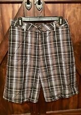 Mens Hurley Plaid Flat Front Shorts, Labeled 38, But Measures 40 At Waist Line