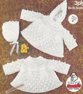 ANGLE TOP PLAIN or HOOD & BONNET - birth to 3mths - 3ply  / COPY