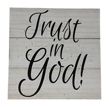 Gianna's Home Rustic Farmhouse Distressed Wood Plank Board Sign Trust in God