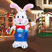 Easter Inflatable Bunny Egg Paintbrush Air Blown Lights Blowup Yard Decoration