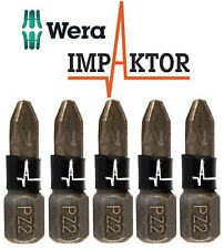 5 x WERA IMPAKTOR Pozi PZ2 25mm Length Diamond Coated Impact Driver Bits,347524