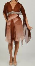 NEW Issue New York Sequin SILK Dress with Scarf -Ombre Browns - size: 10