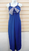 DRESS BLUE SIZE 10,12,14,16 OVER SIZED DIAMANTE BOW DETAIL BNWT (A001