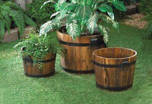 Set of 3 Rustic Wood Apple Barrel Planters Outdoor Garden Yard flower pots