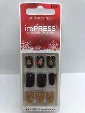 Kiss  imPress Nails Black, Gold Glitter, Christmas Trees