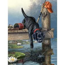 """Artist's Collection RIPPLES Water Puppy Dog Paint by Number Kit  9"""" X 12"""""""