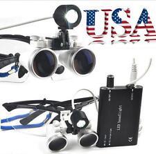 Dental Surgical Loupes 3.5X 420mm Optical Glass Loupe+LED Head Light USA Sale