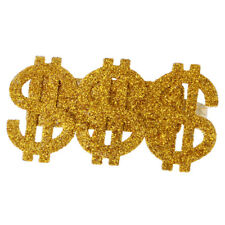 Gold 3 US Dollar Signs Ring Costume 80s Rapper Gangster Men Accessories