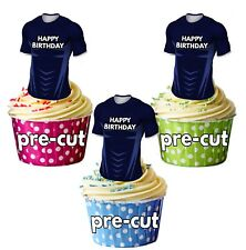 PRECUT Rugby Shirt Birthday Cup Cake Toppers Decorations Castres Colours