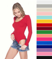 Women's Scoop Neck Long Sleeve Basic Bodysuit Top T-Shirt Stretch Cotton Solids