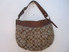 COACH F13740 SOHO PLEATED LARGE C SIGNATURE HOBO SHOULDER BAG LEATHER BROWN TRIM