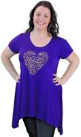 Plus Size Ladies Dip Hem Short Sleeve Leopard Print Embellished Heart Casual Top