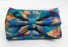 Stacy Adams Men's Bow Tie & Hanky Set Cobalt Blue Coral Orange 100% Microfiber