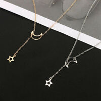 Women Simple Necklace Jewelry Long Pendant Gold Silver Moon Star Choker Chain 1×