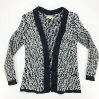 Ann Taylor LOFT MP Medium Petite Open Front Cardigan Wool Sweater Black White