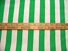 WHITE & CHRISTMAS GREEN AWNING STRIPED COTTON FABRIC BY THE YARD BTY